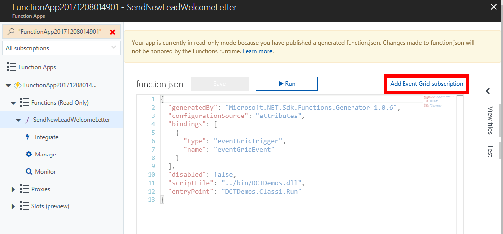 Adding an Azure Event Grid subcription for an Azure Function
