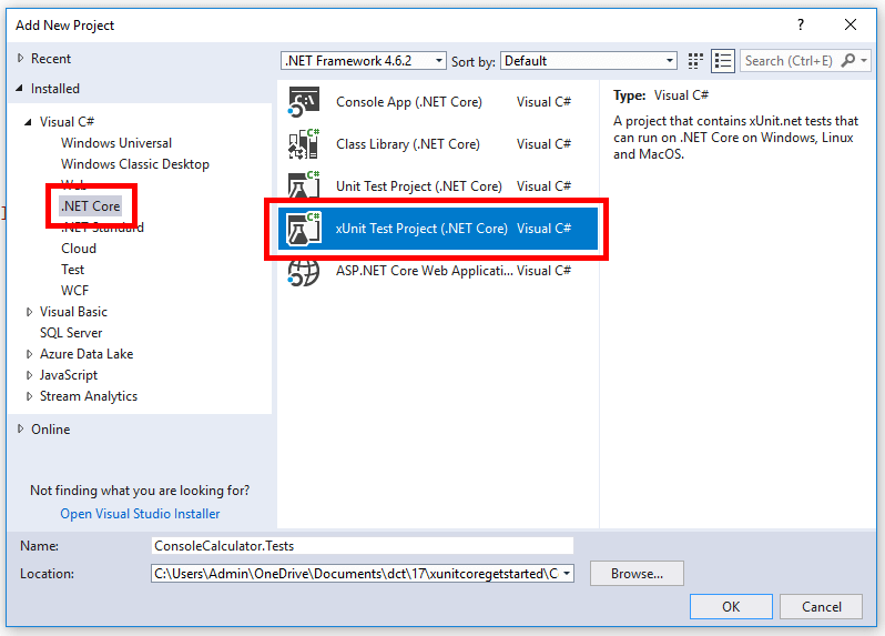 Adding an xUnit test project in Visual Studio 2017