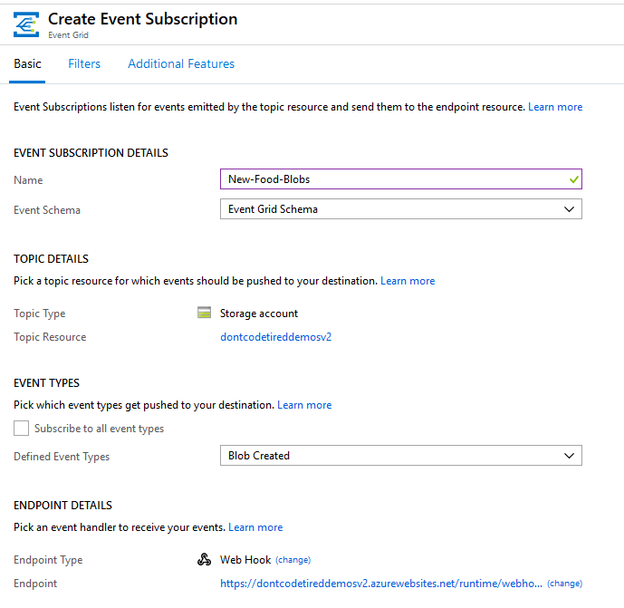 Creating a new Azure Event Grid Subscription to trigger an Azure Function