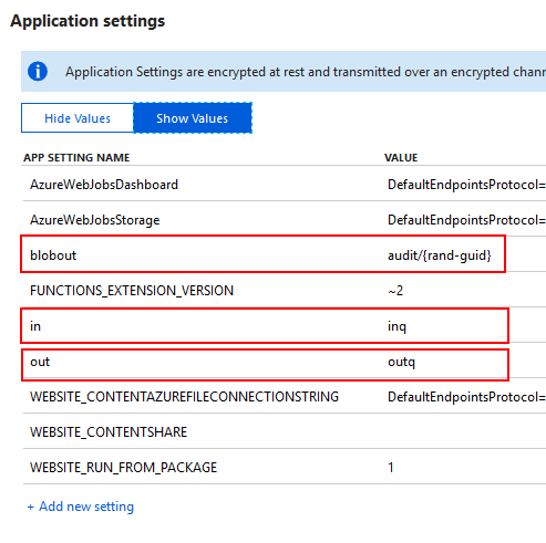 Specifying Azure Function Bindings in application settings
