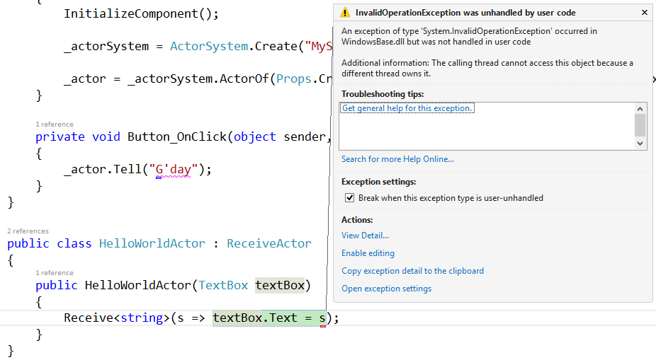 Screenshot of Visual Stuid showing thread access exception in debugger