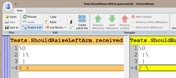 Diff tool screenshot