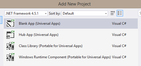 creating universal app in Visual Studio screenshot