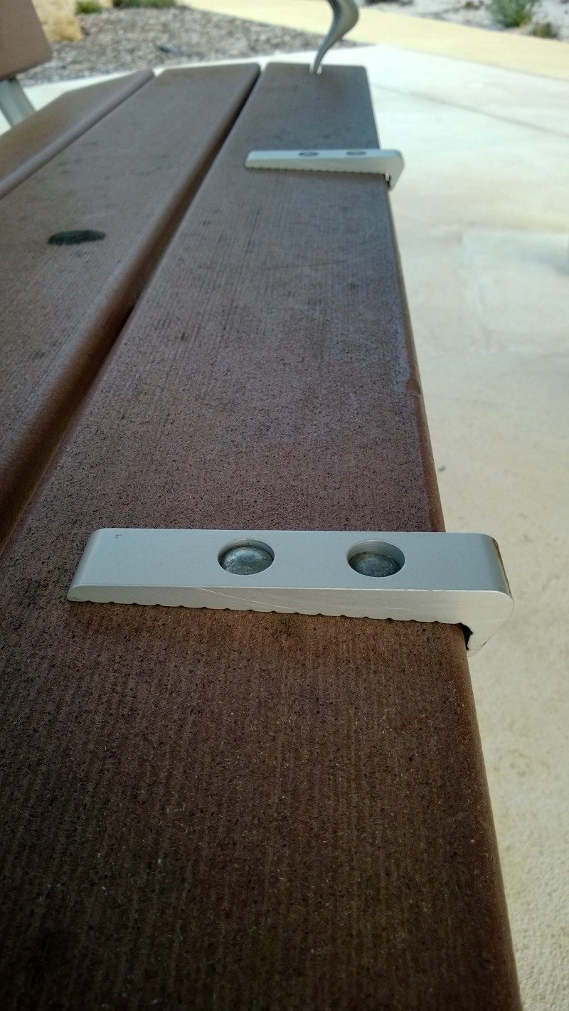 Bench with uncomfortable adornments