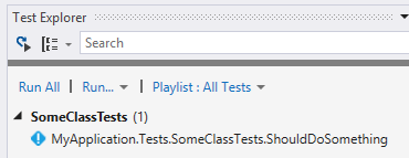 Visual Studio Test Explorer showing Fixie Test