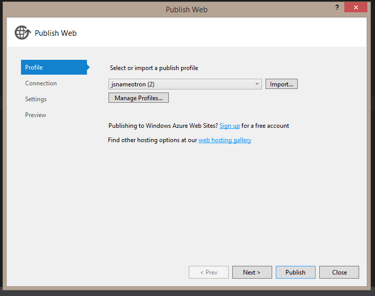 Publish to Azure from Visual Studio