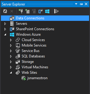 Azure window in Visual Studio 2013