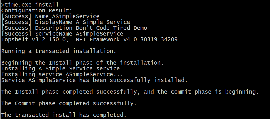 command prompt showing Topshelf service installation