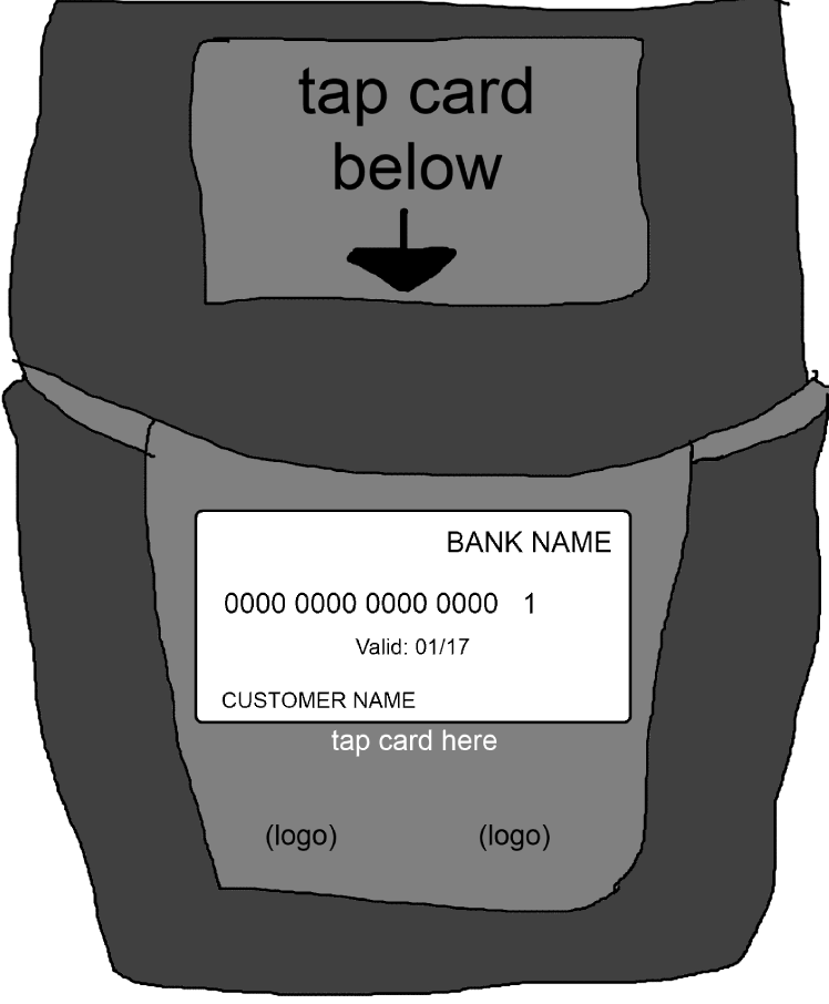 Contactless payment machine design sketch