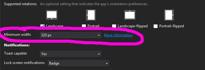 setting min windows 8.1 app width