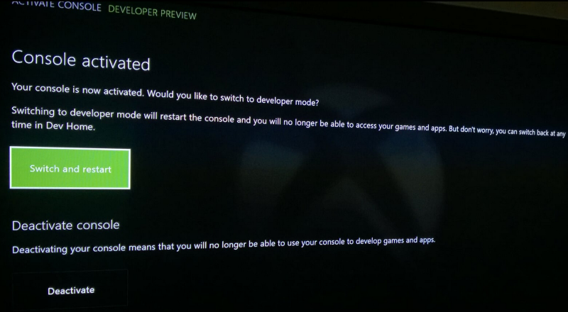 Switching Xbox One to developer mode