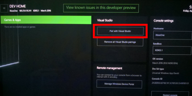 Pairing Visual Studio with Xbox One