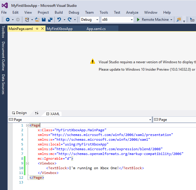 App XAML in Visual Studio