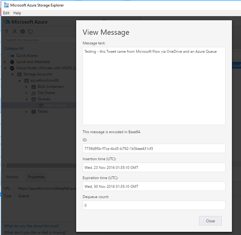 Azure Storage Explorer showing Azure Queue message content