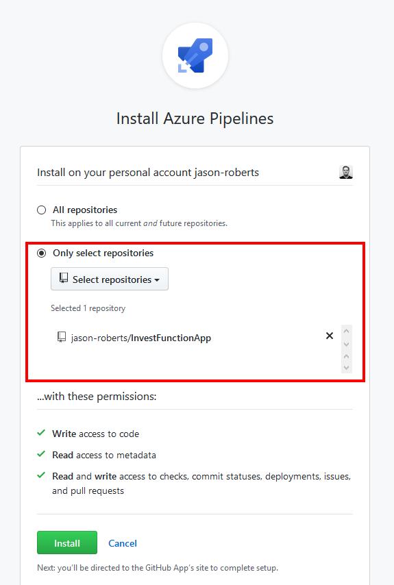 Installing the Azure Pipelines GitHub App