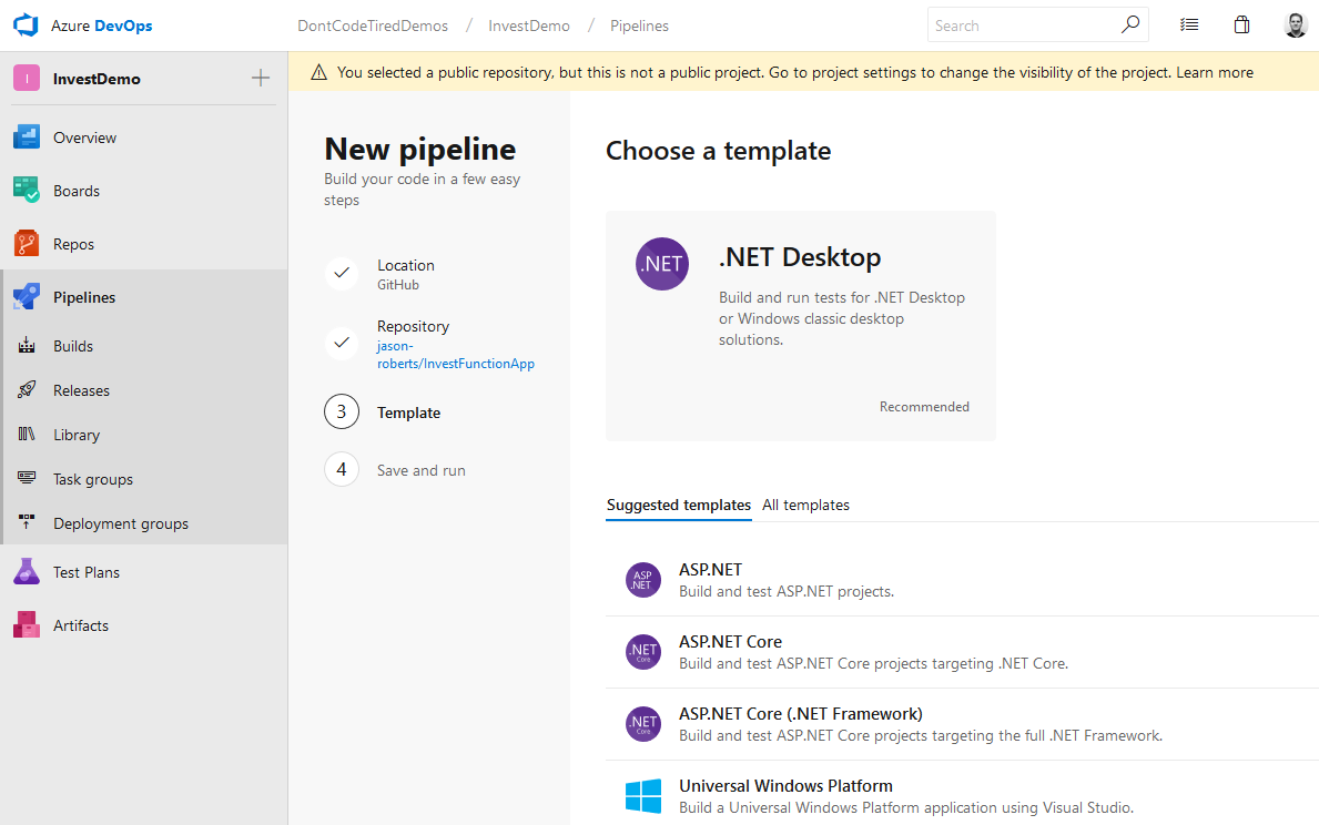 Defining a starter YAML Azure Pipeline build template
