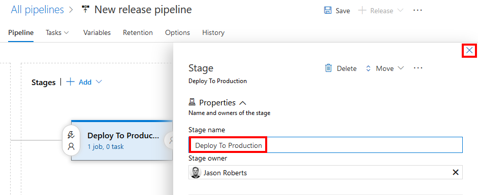 Naming a release Azre Pipeline stage