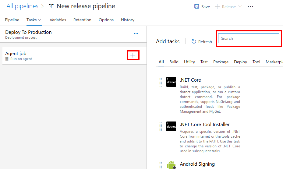 Adding Azure Pipeline release stage tasks