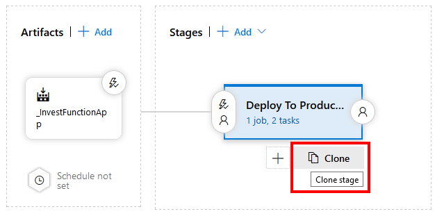 Cloning a stage in a release Azure pipeline