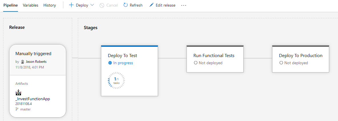 Azure release Pipeline executing