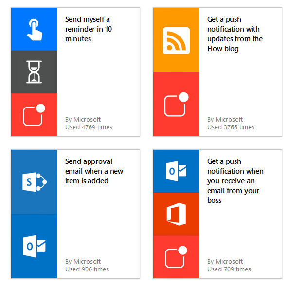 Screenshot of Microsoft Flow pre-built templates