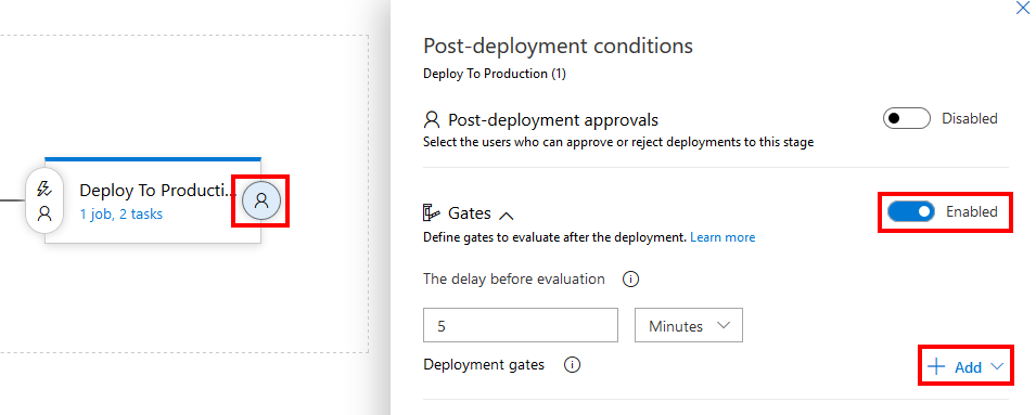Enabling post-deployment gates in Azure Pipelines