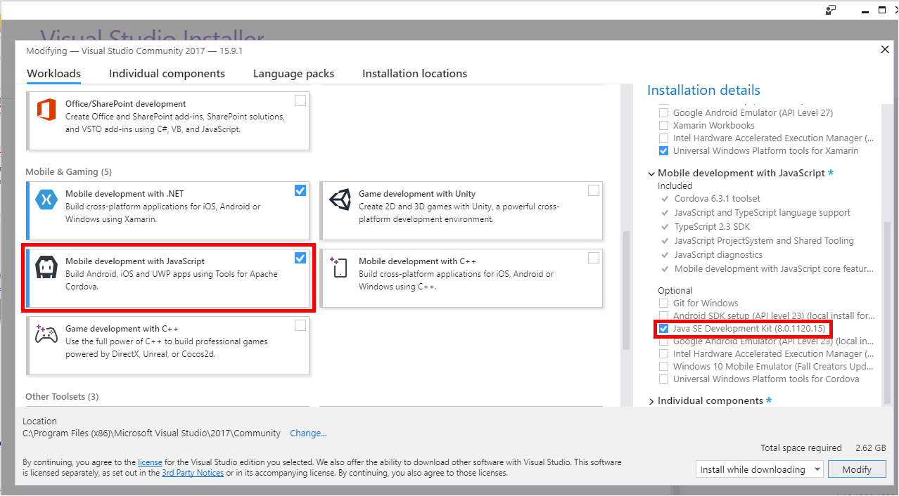 Installing Java 8 from the Visual Studio Installer
