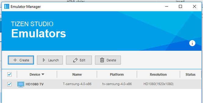 Tizen TV Emulator installed