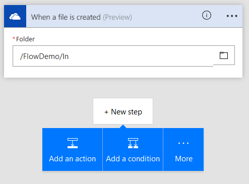 A Flow triggered by new OneDrive files