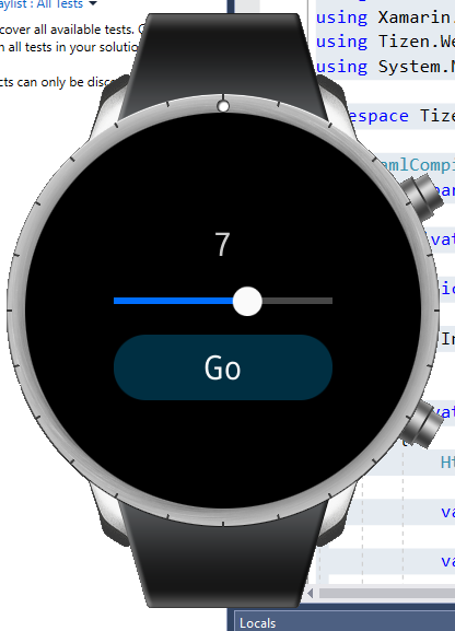 Xamarin Forms app running in Samsung Galaxy Watch emulator