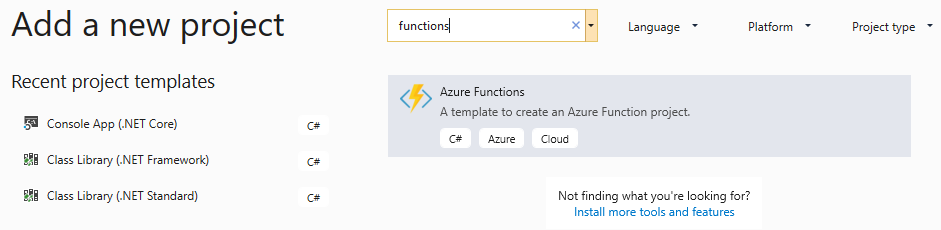 Creating a new Azure Functions project in Visual Studio 2019