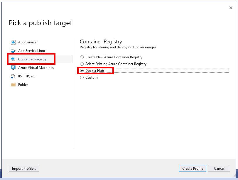 Choosing Docker Hub as a publish target in Visual Studio