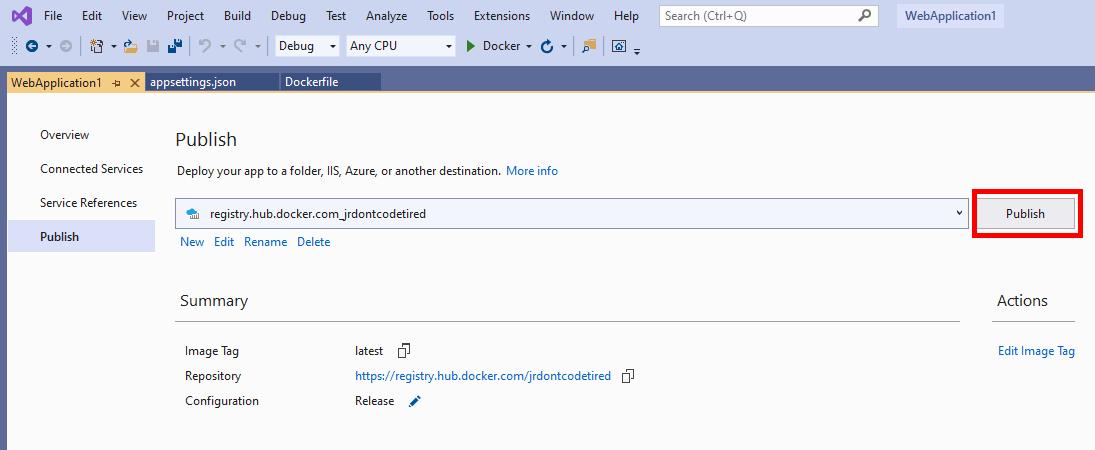 Publishing a ASP.NET Core web app to Docker Hub