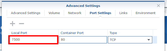 Mapping Synology port to docker container port