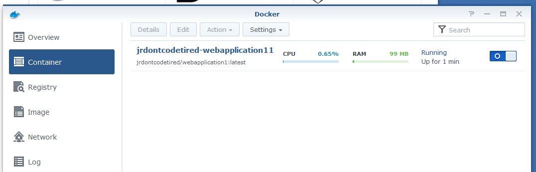 Docker container running on a Synology NAS
