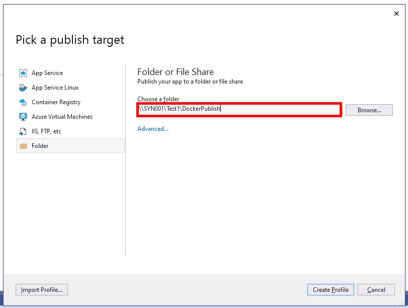 Publish to Synoloy NAS folder from Visual Studio