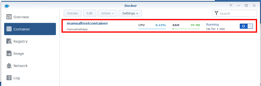 Docker container running on Synology NAS