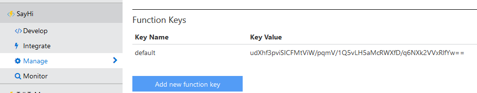 Finding the Azure Function Key