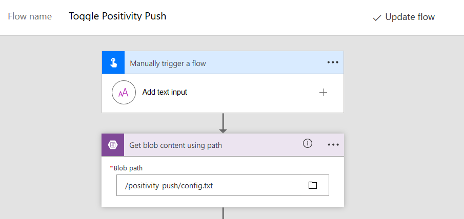 Microsoft Flow reading content from blob storage