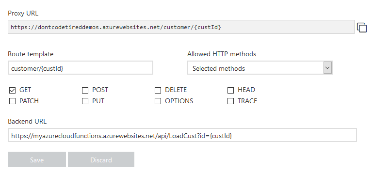 Azure Function Proxy settings