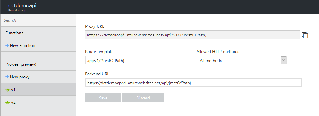 Azure Function proxy settings for API version 1