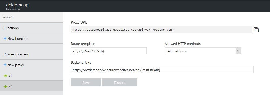 Azure Function proxy settings for API version 2