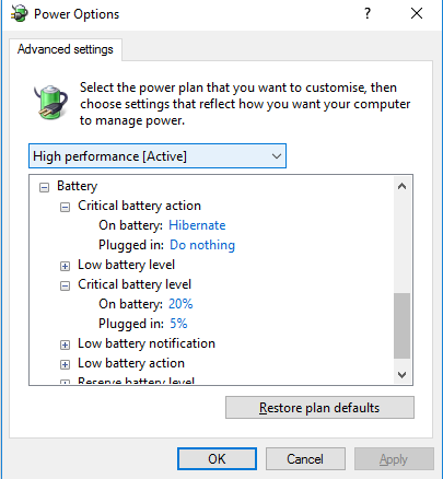 Hibernating Windows 10 when critical UPS battery level reached