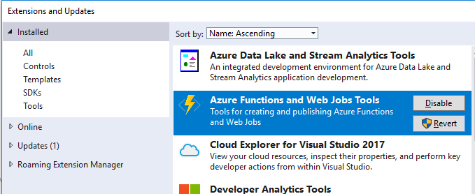 Azure Functions and Web Jobs Tools Visual Studio 2017 extension