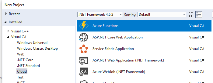 Creating a new Azure Functions project in Visual Studio