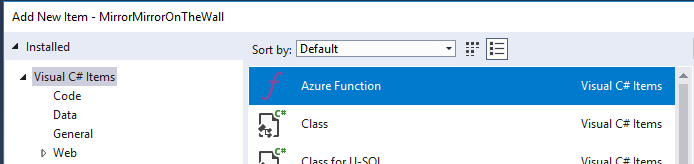 Adding a new function to and Azure Function app