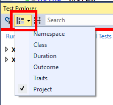 Selecting a grouping in Visual Studio Test Explorer