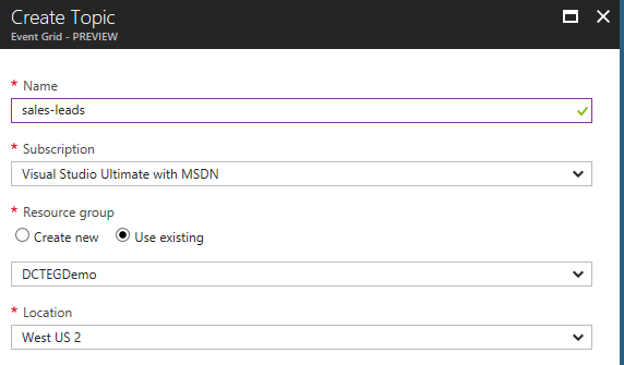 Creating a new Azure Event Grid Topic