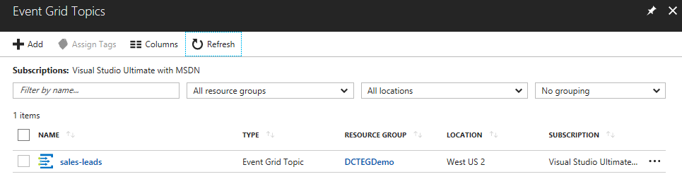 Azure Event Grid topic added