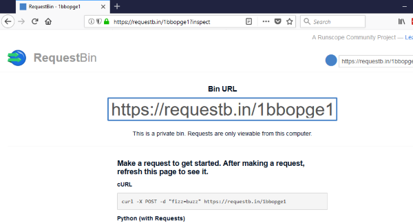 Creating a RequestBin URL